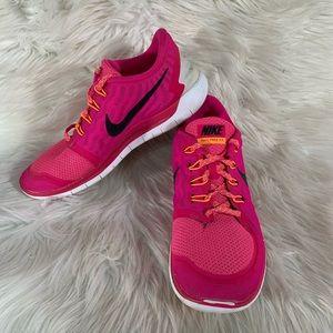 Nike 724383-600 Free 5.0 Shoes Pink Women Size 10